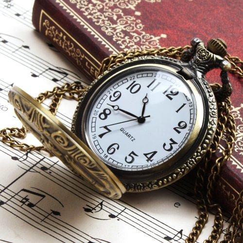 ALIENWOLF Unisex Antique Case Vintage Brass Rib Chain Quartz Pocket Watch 1