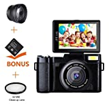 Digital Camera Camcorder Full HD 1080P Video Camera DIWUER 24.0MP 3.0 Inch LCD Mini Camcorders with Macro Lens and Flash Light (Dual Batteries)