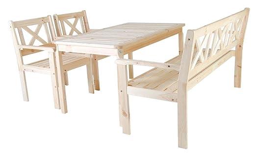 Trendy-Home24 Gartenset 4tlg Evje, natur, Essgruppe, Sitzgruppe, mit 3-Sitzer Bank und Sessel, Tisch 135 x 77 cm