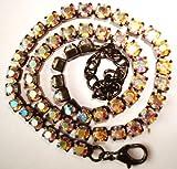 Aurora Borealis Rhinestone Guntone Choker Style Single Strand Necklace with swarovski rhinestones