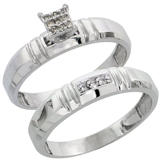 Sterling Silver 2-Piece Diamond Engagement Ring Set, 4mm Wide