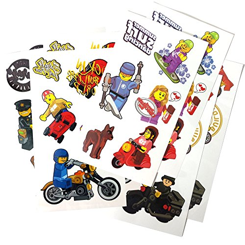 Temporary Tattoos (8 Sheets) for Lego-Theme Parties, Party Favors or Just for Fun! (Ninja Coloring Book Party Favors compare prices)