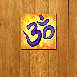 999Store doorhanging OM yellow art printed wooden framed door sticker (4 x 4 inches)
