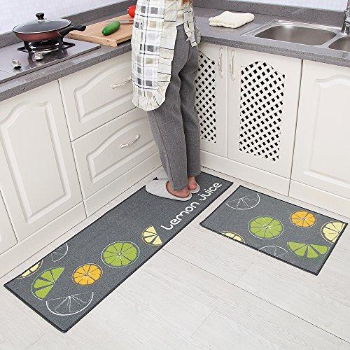 Carvapet 2 Piece Non Slip Kitchen Mat Rubber Backing Doormat Runner Rug Set Ebay