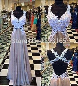 Back Appliqued Bodice Chiffon Prom Dresses Vestido De Festa Curto 14w