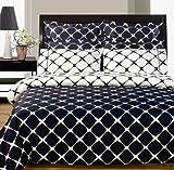 8pc Modern Navy Blue White Bedding Duvet Cover Set Queen