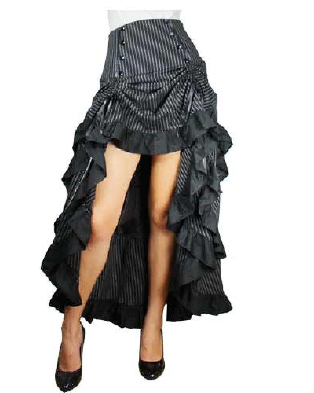 Three Tiered Tail Skirt Black Pinstirpe Gothic Victorian Renaissance Steampunk Goth $75.99 AT vintagedancer.com