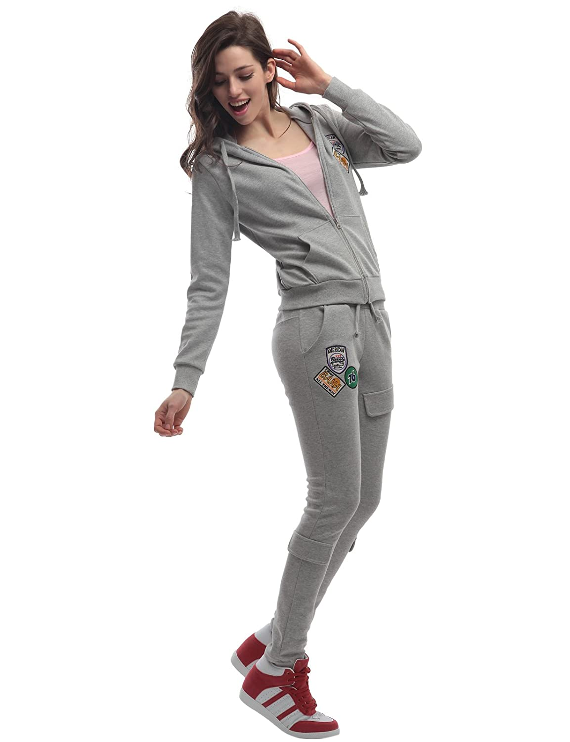 Doublju Womens Hood Sweatshirt & Pants Set with Point Patches