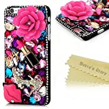 6 Plus Case,Iphone Case - Mavis's Diary 3D Handmade Bling Crytal Hot Pink Flower Sexy Lips And Lipstick With Colorful...