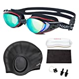 HAIREALM Swiming goggles,Optical Prescription Swimming Goggles(Myopia 0-8.0 Diopters),Corrective Nearsighted swim goggles+Swimming caps+Nose Clip+Ear Plugs (Black -5) (Color: Black -5)