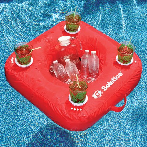 Sunsoft Drink Caddy Floating Cooler - Red front-837111