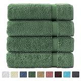 "Turkish Luxury Hotel & Spa 27""x54"" Bath Towel Set of 4 - 100% Genuine Cotton from Turkey - 700gsm Eco-Friendly (Bath Towels, Green)"