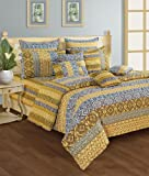 Swayam Printed Cotton Bedsheet with 2 Pillow Covers - King Size, Yellow (DBS XL-1405)