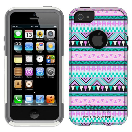 Best Price Otterbox Commuter Series Aztec Andes Mauve and Teal Pattern Hybrid Case for iPhone 5 & 5s