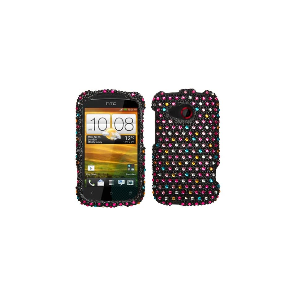 Rainbow Polka Dots Diamond Rhinestone Hard Cover Case for Htc Desire C by ApexGears
