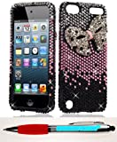 Accessory Factory(TM) Bundle (the item, 2in1 Stylus Point Pen) 3D DIAMOND Case Cover Protector for iTouch 5 Black Pink Bow Stylish Full Diamond Bling Design Snap On Hard Faceplate Shell