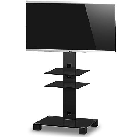 SONOROUS-PL 2525 NN Socle TV à 2 étagères hauteur 126 CCS. Verre noir et châssis Noir