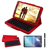 Galaxy Tab A 10.1 2016 Keyboard Case with Screen Protector & Stylus, REAL-EAGLE Slim Separable Fit PU Leather Case Cover Wireless Keyboard for Tab A 10.1 Inch 2016 SM-T580 T580N T585 T585N,Red (Color: Red, Tamaño: Samsung Galaxy Tab A 10.1 2016)