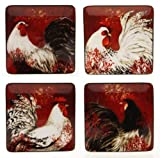 Certified International Avignon Rooster Dessert Square Plate, Assorted Designs, 8-1/2-Inch, Set of 4