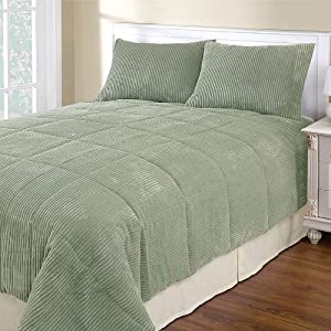 Sage green corduroy king 3 piece comforter set - Corduroy bedspreads ...