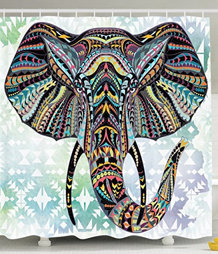 Elephant Vintage Tribe Stripe Polyester Fabric Bathroom Shower Curtain