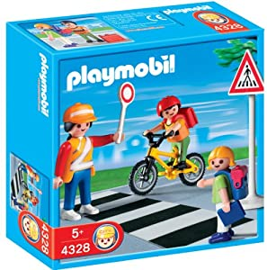 Amazon.com: PLAYMOBIL School Crossing Guard Construction Set with Kids