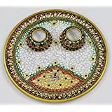 SR Crafts Marble Pooja Thali Set Of Two Diyas
