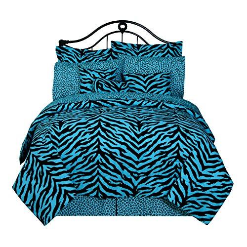 Blue Black Zebra Print Comforter Bedding Set Bed In A Bag & Matching Sheets front-1015418