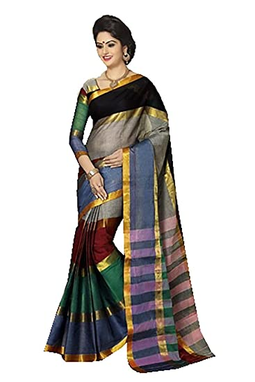 Ishin Cotton Multicolor Solid Saree available at Amazon for Rs.3249