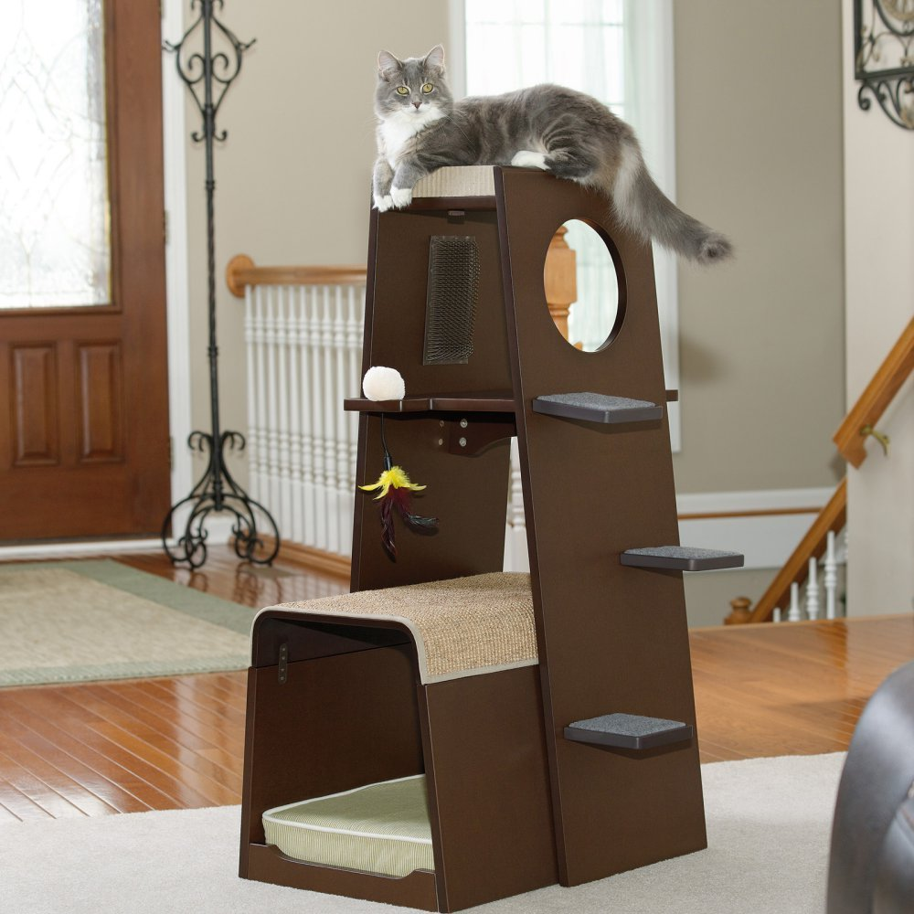 Sauder Modular Modern Cat Tree Without Carpet