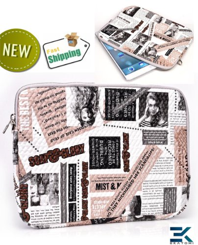 Journal PRINT | Universal 10 inch Troche Bag with Wrist Strap fits 10.1 Acer Iconia Tab A200 Series. Honorarium Ekatomi Screen Cleaner