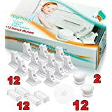 Child Safety Magnetic Cabinet and Drawer Locks 12 PACK+12 Special Aiming Transparent Stickers Child Latches Baby Proofing - Adhesive Locks No Tools or Drill (Color: White)