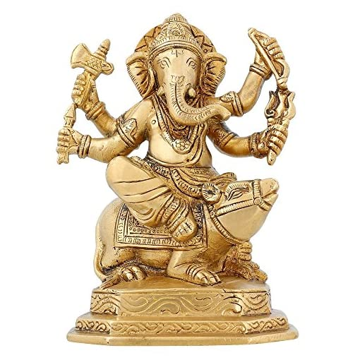 Hinduism-Spirituality-Lord-Ganesha-Statue-Brass-Indian-Temple-For-Home-6-inch
