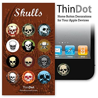 "ThinDot Home Button Stickers for iPhone, iPad and iPod Touch ""Skulls"""