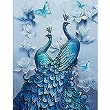 Faraway Peacock 5D DIY Crystal Diamond Rhinestone Painting Pasted Paint by Number Kits Animal Full Diamond Mosaic 40x70cm (Blue2) (Color: Blue2)
