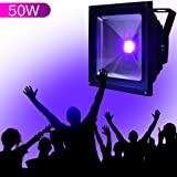 YQL Outdoor Blacklight,High Power 50W UV LED Flood Light for DJ Disco Club,Night Clubs,UV Light Glow Bar,Birthday Parties,Blacklight Party,Aquariums and Other Entertainment Venues Stage Lighting (Color: Black, Tamaño: 50W)