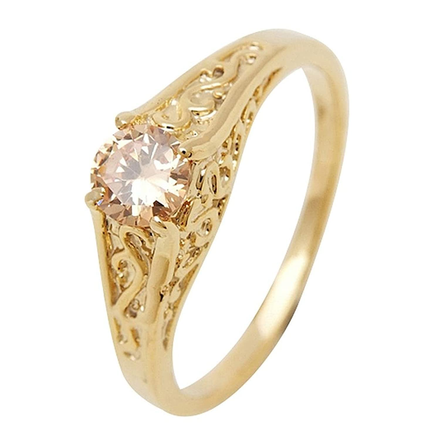 Followmoon 18K Gold Plated Use Cubic Zirconia Crystal Engagement Wedding Ring
