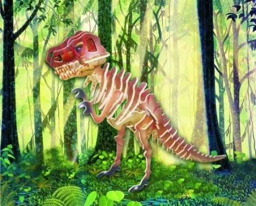 Puzzled Colorful Wood Craft Construction Tyrannosaurus 3D Jigsaw Puzzle - 1