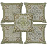 Indian Home Furnishing Cotton Cushion Cover Adorn With Zari Embroidery 16 X 16 Inches