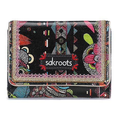 Sakroots Artist Circle Small Trifold Wallet Credit Card Holder, Neon Spirit Desert, One Size