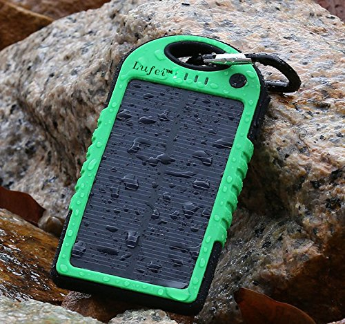 Lufei Solar Panel 5000mah Rain-resistant and Dirt/shockproof Dual USB Port Portable Charger for Iphone 5s 5c 5 4s 4, Ipods, Samsung Galaxy S5 S4,S3, S2, Note 3, Note 2, Android, Windows Phone - Green