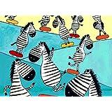 Tallenge Art For Kids - Zebra Skate Boarding - A3 Size Rolled Poster For Kids Room Decor