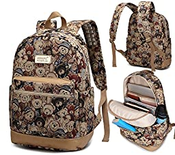 Kinmac Bear Pattern Laptop Backpack with Massage Cushion Straps for Laptop Up to 15.6 inch Student Backpack Outdoor Backpack Travel Backpack 15 inch laptop backpack for Men and Women