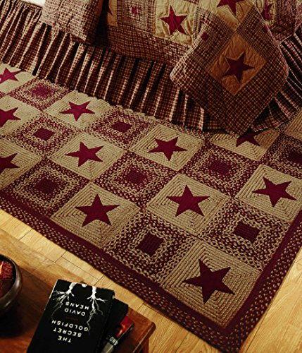 IHF Home Decor New Area Braided Rug Country Star Wine