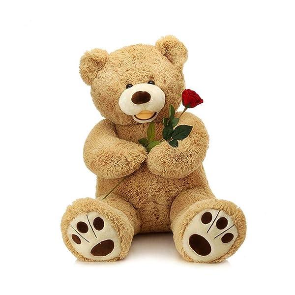 LApapaye 37 Inch Giant Teddy Bears Stuffed Animal Plush Toy with Footprints Big Bear,Light Brown (Tamaño: LB-95cm/37inch)
