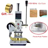 Hot Foil Stamping Machine 10 x 13cm 110V Tipper Stamper Bronzing Card Foil Logo Embossing for for PVC leather PU and Paper Stamping with Holder (Tamaño: 10x13 cm)