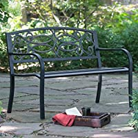 Coral Coast Scroll Curved Back 4-ft. Metal Garden Bench