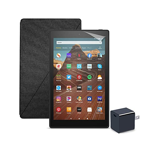 Fire HD 10 Tablet (64 GB, Black, With Special Offers) + Amazon Standing Case (Charcoal Black) + Nupro Screen Protector (2-pack) + 15W USB-C Charger (Color: Black)
