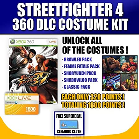 STREET FIGTHER IV (4) (XBOX 360) + 1600 XBOX LIVE CARD FOR DOWNLOADABLE CONTENT OF ALL COSTUME PACKS! + FREE COMPLIMENTARY MICRO FIBER CLEANING CLOTH