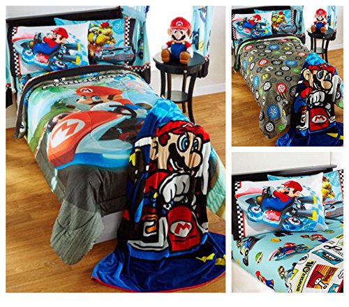 Super Mario Bros. Mario Kart Reversible Comforter with Sheets Bedding Set - Full (Super Mario Bros Comforter compare prices)
